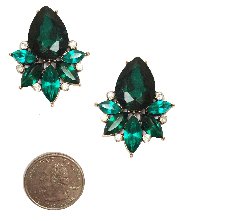 Art Deco Antique Vintage Retro Style Green Emerald Pear Bridal Wedding Formal Rhinestone Cluster Statement Earrings