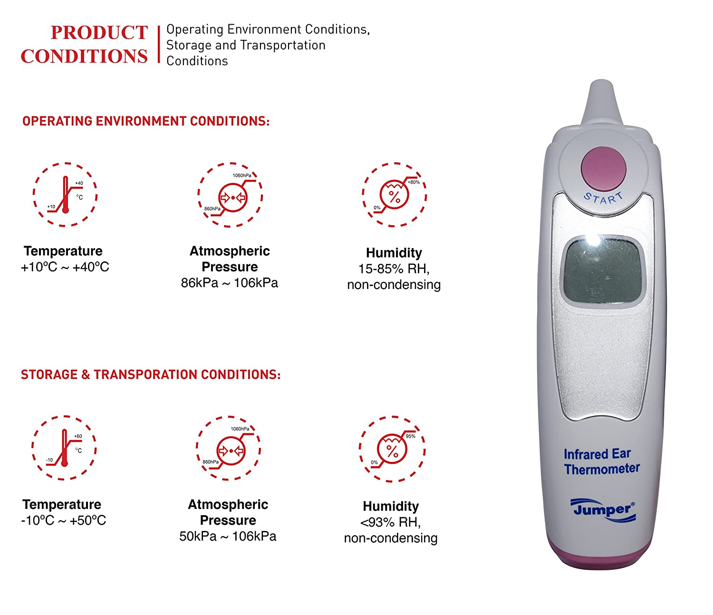 [Jumper® Medical] termómetro digital infrarrojo (IR) de oído con capuchón reemplazable, con certificación CE, FDA, ISO, instrumento adecuado para bebés, ...
