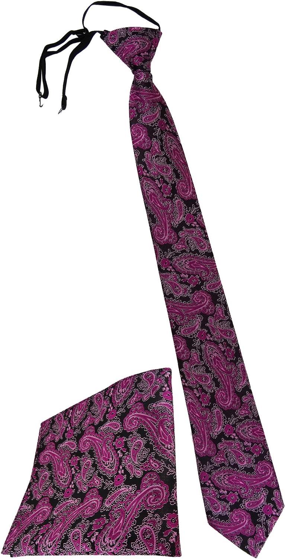 vorgebunden mit Gummizug in schwarz TigerTie Security Sicherheits Krawatte Einstecktuch in Paisley gemustert