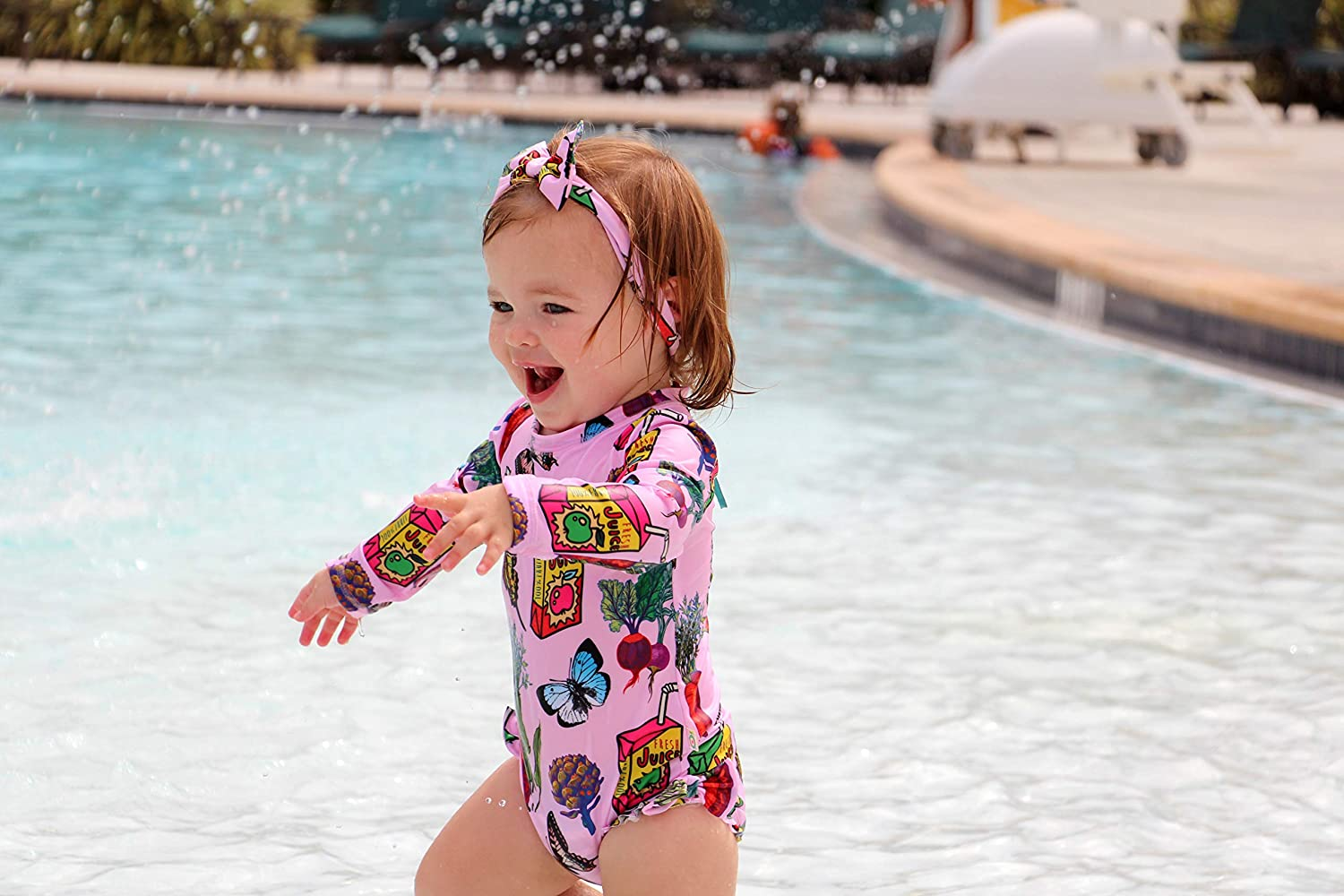 Sun Protection Long Sleeve One Piece Swimsuit and UV Sunsuit KRIO COLOR Baby Girl//Toddler UPF 50