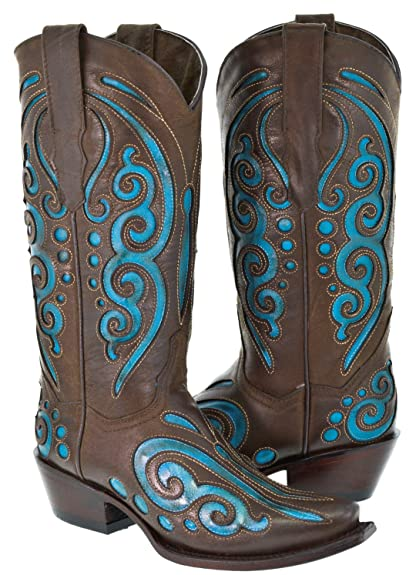 ece0ebc72de Texas Legacy - Women s Brown Turquoise Butterfly Inlay Leather Cowboy Boots  Snip 5.5 BM