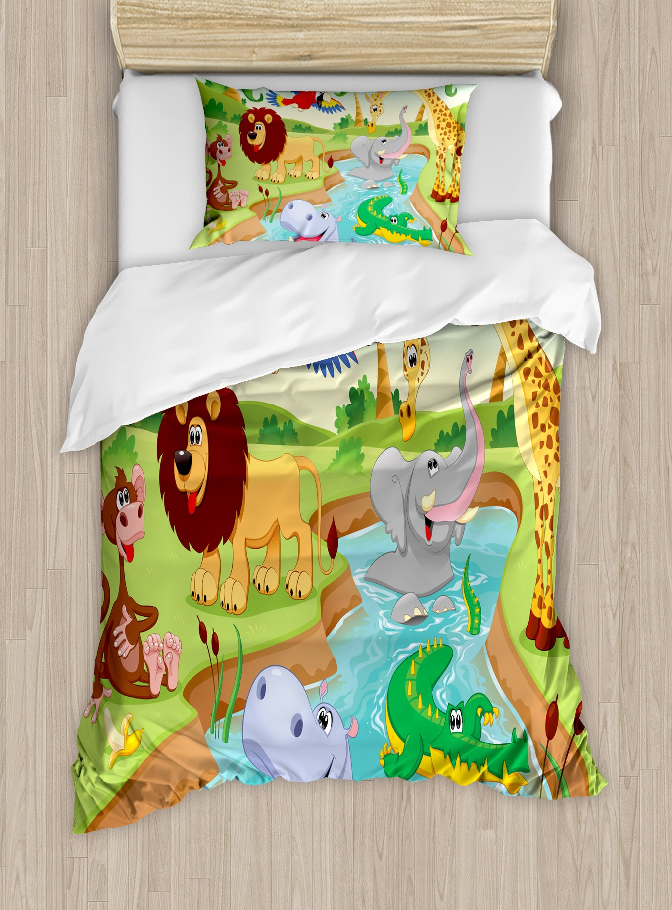 Ambesonne Children Duvet Cover Set Twin Size, Cartoon Safari African Animals Swimming in The Lake Elephant Lions and Giraffe Art, Decorative 2 Piece Bedding Set with 1 Pillow Sham, Multicolor