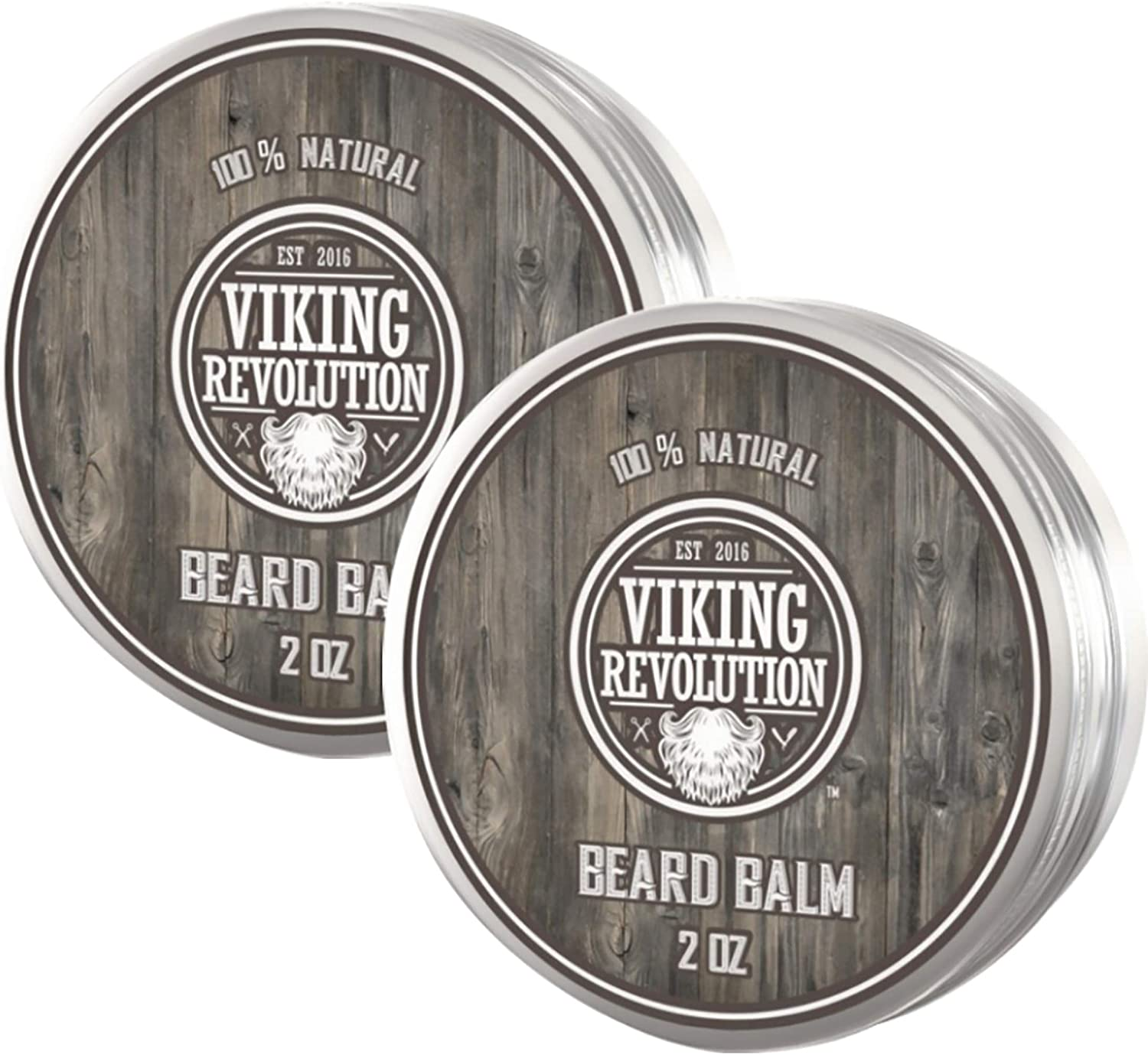 Viking Revolution Beard Balm - All Natural Grooming Treatment with Argan Oil & Mango Butter - Strengthens & Softens Beards & Mustaches - Citrus Scent Leave in Conditioner Wax for Men - 2 Pack