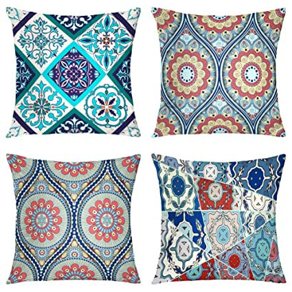Suesoso Decorative Pillows Case,4 Pillow Set,Beautiful Patchwork and Fashion with Tiles Moroccan Ornaments Throw Pillowcovers 18 x 18 inch,Cushion ...
