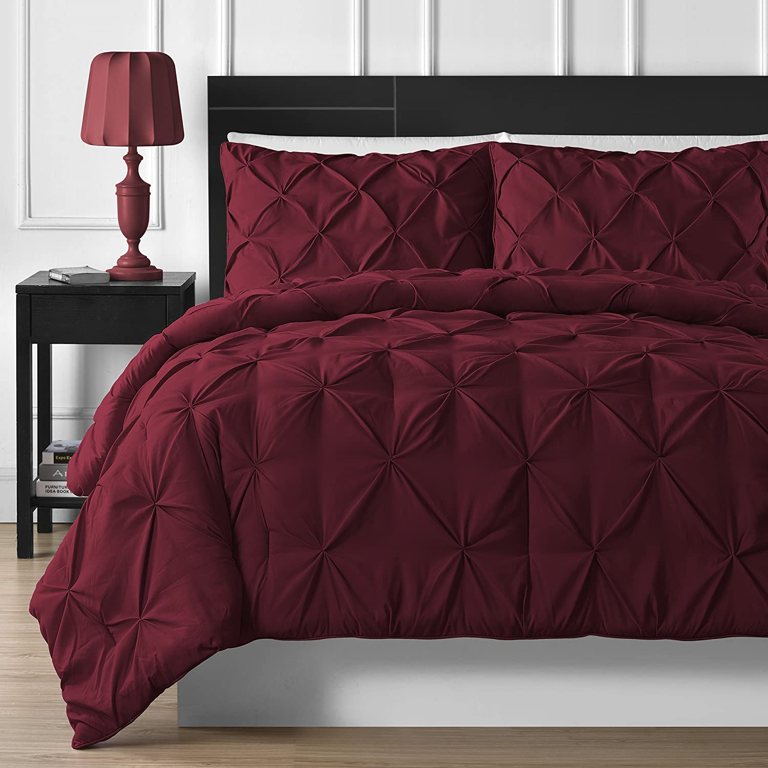 3 Piece Luxurious Pinch Pleat Comforter Set Burgundy