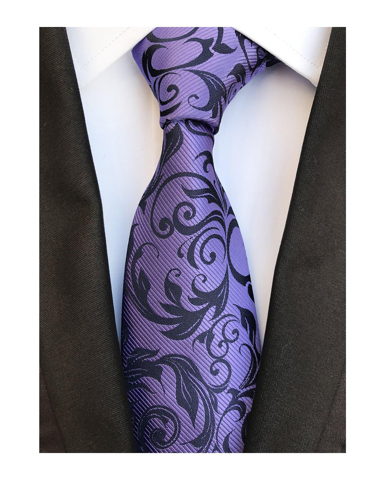 Men's Purple Black Floral Wholesale Groomsman Silk Ties Wedding Casual Neckties