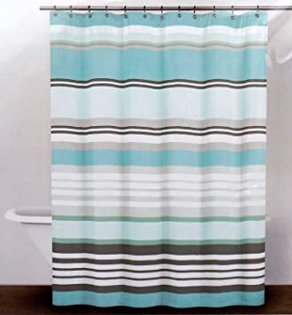Amazon.com: DKNY Fabric Shower Curtain -- Urban Lines, Reef Blue ...