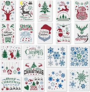 20Pcs Large Christmas Stencils Template,DIY Reusable Christmas Painting Stencils for Art Drawing Painting Spraying Window Glass,Door,Wood,Christmas Card Snowflake Snowmen Wall Art Home Decor
