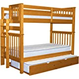 Bedz King Tall Bunk Beds Twin over Twin Mission Style with End Ladder and a Twin Trundle, Honey