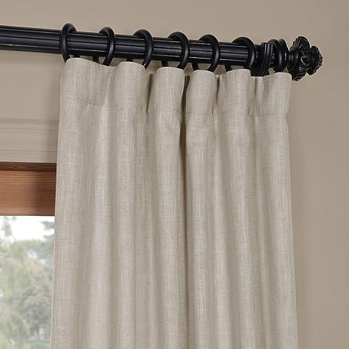 HPD Half Price Drapes FHLCH-VET13197-96 Heavy Faux Linen Curtain 1 Panel