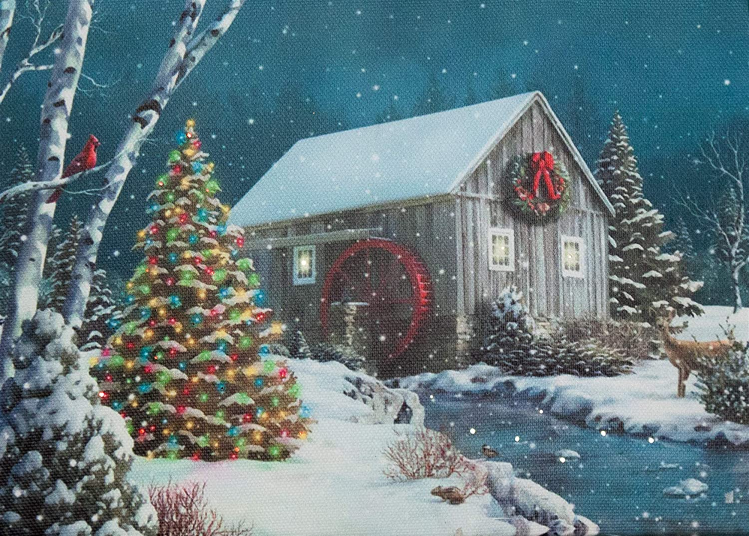 Amazon Com Oak Street Christmas Winter Scenes Led Art 8 X6 Tabletop Canvas Light Up Picture 6 Hour Timer 8 X6 Christmas Tree Water Mill River Osw152390 Posters Prints