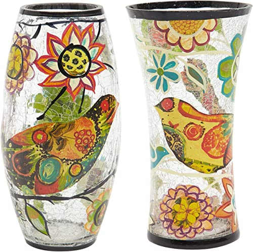 Bloom Valley Mosaic Glass Vase for Flowers,Unique Flower Bottle Decorative Art Glass Home Decor,Great for Parties, Pools, Patios, Weddings,2PCS Bird