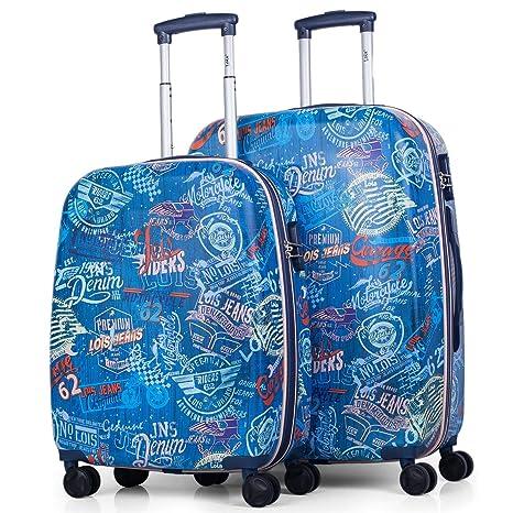 Lois - 54200 Juego Set 2 Maletas Trolley 55/70 cm ABS Texturizado Estampado.