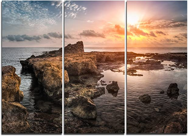 Designart Pt11031 3p Sunset Over Rocky African Coast Oversized Beach Canvas Artwork Multipanel Brown 36x28 3 Piece Amazon Ca Home Kitchen