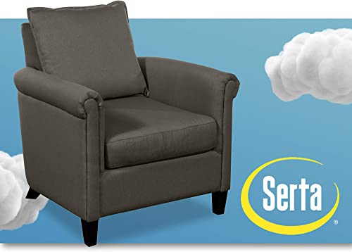 Serta Jackson Contemporary Accent Chair, Fabric Upholstery with Padded Round Arms, Deep Comfortable Seat and Pillow Back, Gray