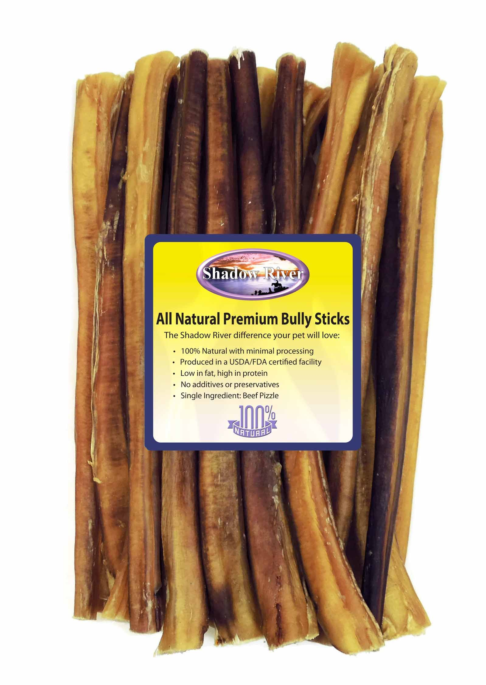 Shadow River 25 Pack 12 Inch Thick All Natural Premium Beef Bully Sticks for Dogs