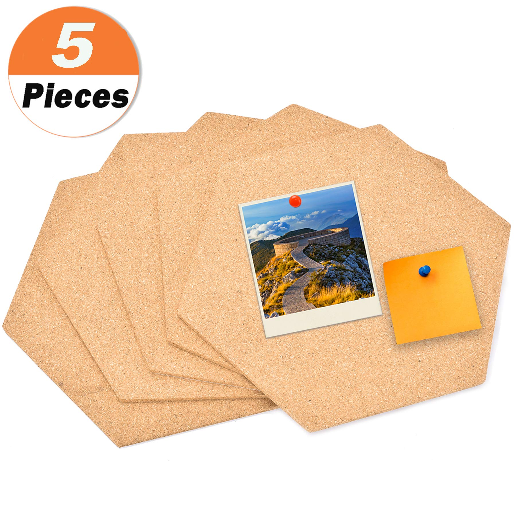 5 Pack Hexagon Cork Board Tiles with Adhesive 11.8 by 10.2'' - Buytra Mini Wall Bulletin Boards, Pin Board Decoration for Photos, Pictures, Sticky Notes, Drawing