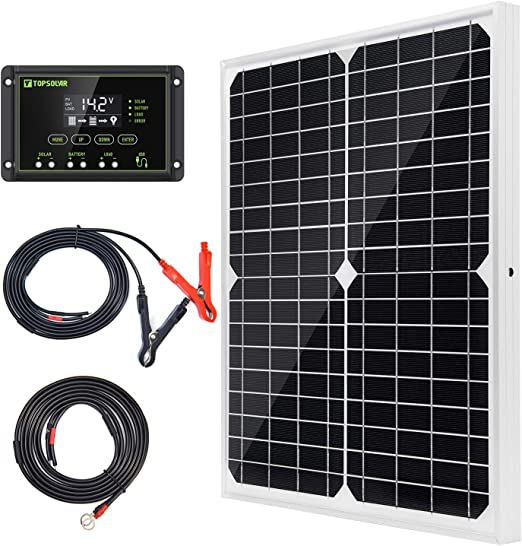 TLICLXY 12W 12V Solar Panel Kit with Charge Controller USB Port Off Grid Monocrystalline Module with SAE Connection Cable Kits for Camping Car Boat Marine,Motorhome,Caravan Camper yacht or Boat
