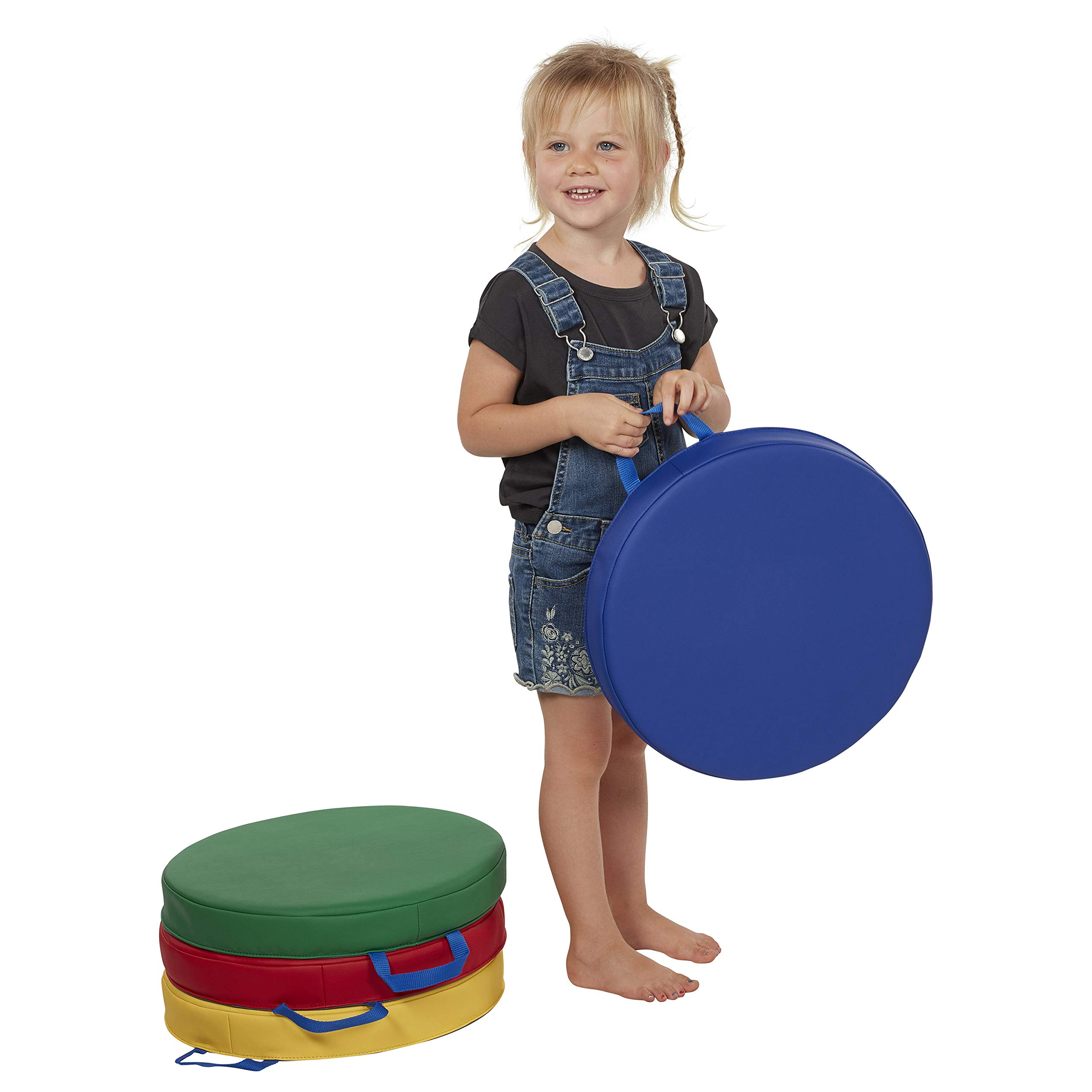 ECR4Kids SoftZone Cozy Floor Seat Cushions with Handles, 2'' Deluxe Foam, Flexible Classroom Story Time Seating for Toddlers and Kids, Round, Assorted Colors (4-Pack)