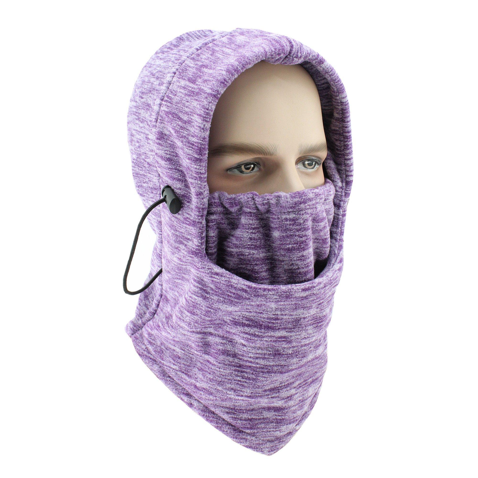 GANWAY Winter Cap Cycling Mask Motion Warm Headgear Camouflage Fleece Cold-proof Windbreak Motorcycle Skiing Face Hat Women Beanies (Purple)