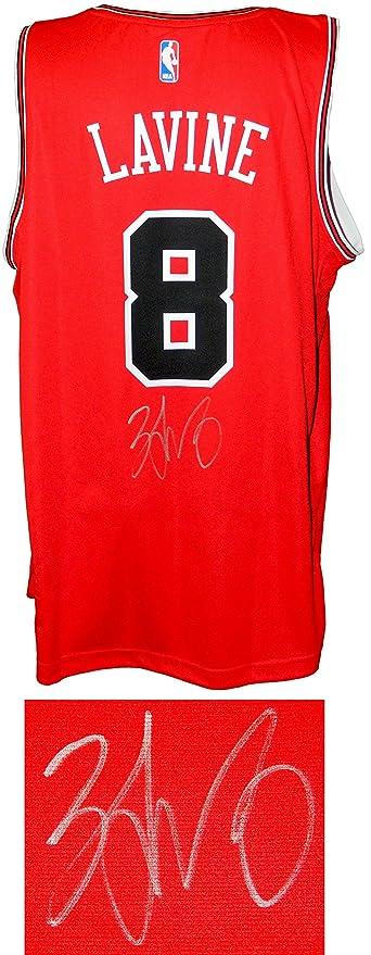 f9c6214b4 Zach LaVine Signed Chicago Bulls Red Fanatics Replica Basketball Jersey - Schwartz  COA