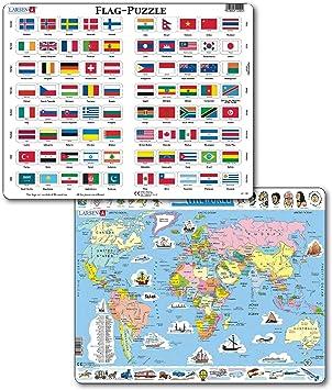 Larsen Puzzles – Juego de Rompecabezas de Mapa del Mundo y Banderas para niños – 107 Piezas Mapa del Mundo y 80 Piezas Banderas del Mundo Marco y Bandeja Rompecabezas, None: Amazon.es: