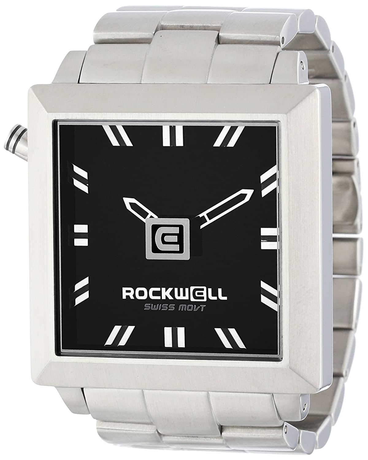 Rockwell Time Unisex FS102 50mm Squared Stainless Steel Silver and Black Armbanduhr