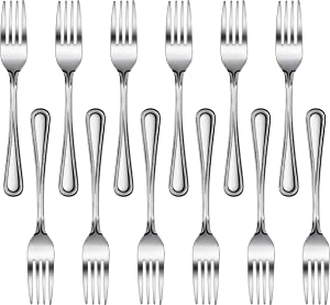 New Star Foodservice 58468 Bead Pattern, 18/0 Stainless Steel, Dinner Fork, 7.7-Inch, Set of 12