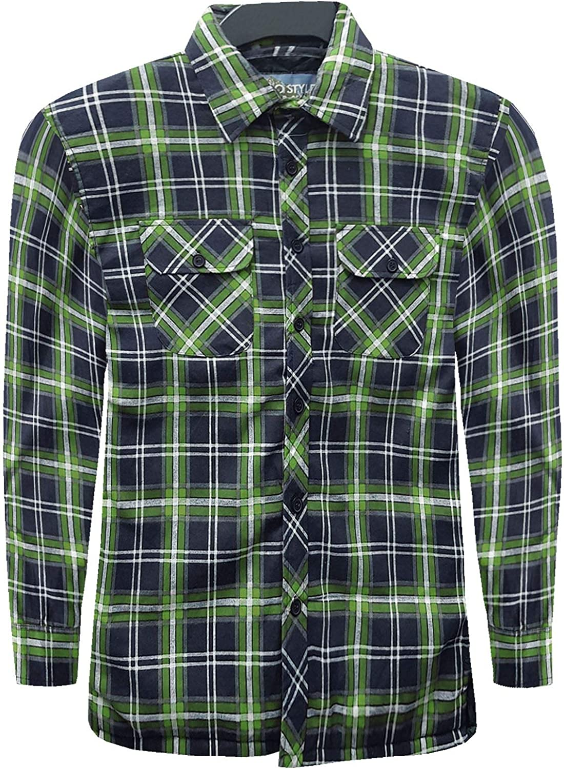 MENS PADDED THICK LUMBER JACK SHIRT QUILTED LINED CHECK WORKER WARM WINTER M L XL XXL