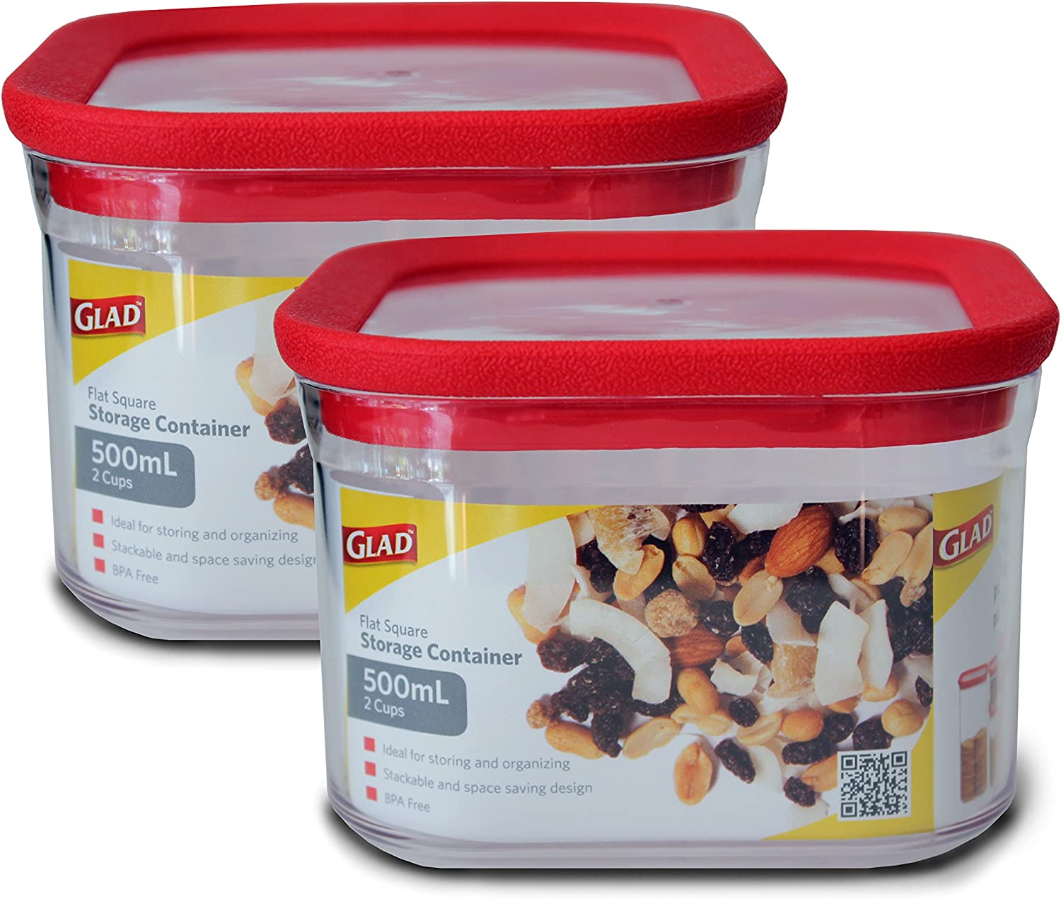 Glad Dry Food Storage Container, 0.5 Liter (2 Cups), Flat Square, Pack of 2