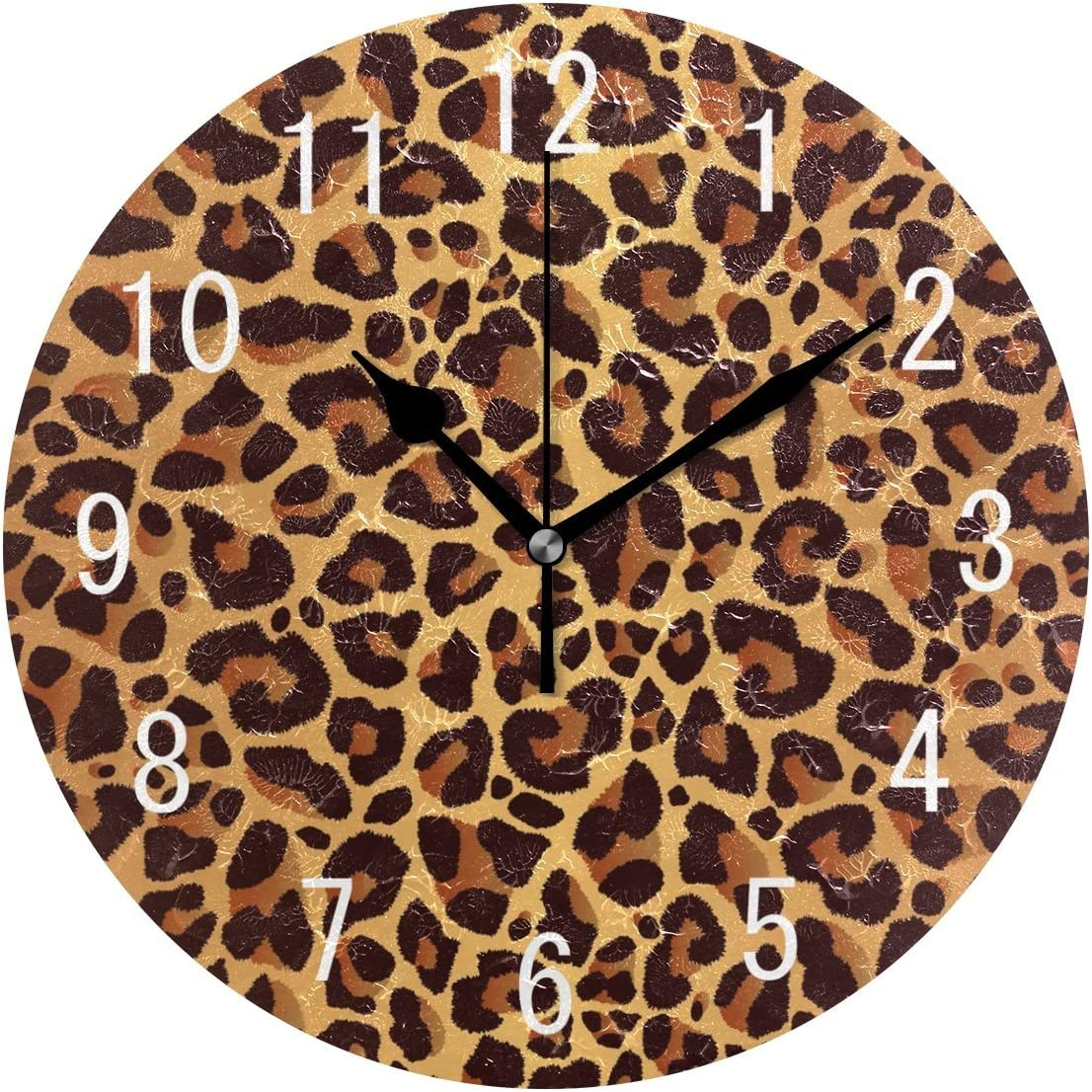 ALAZA Home Decor Bowrn Animal Leopard Print Round Acrylic 9.5 Inch Wall Clock Non Ticking Silent Clock Art for Living Room Kitchen Bedroom
