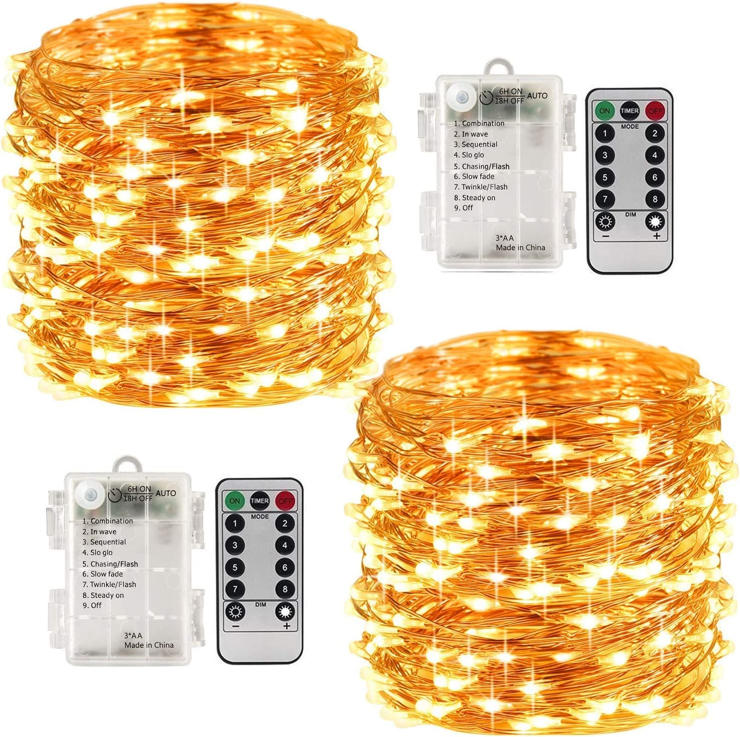[2 Pack] Led Fairy Lights Battery Operated 33 Feet 100 Led Waterproof Copper Wire String Lights with Remote Control Timer for Bedroom Indoor Outdoor Wedding Decor Warm White