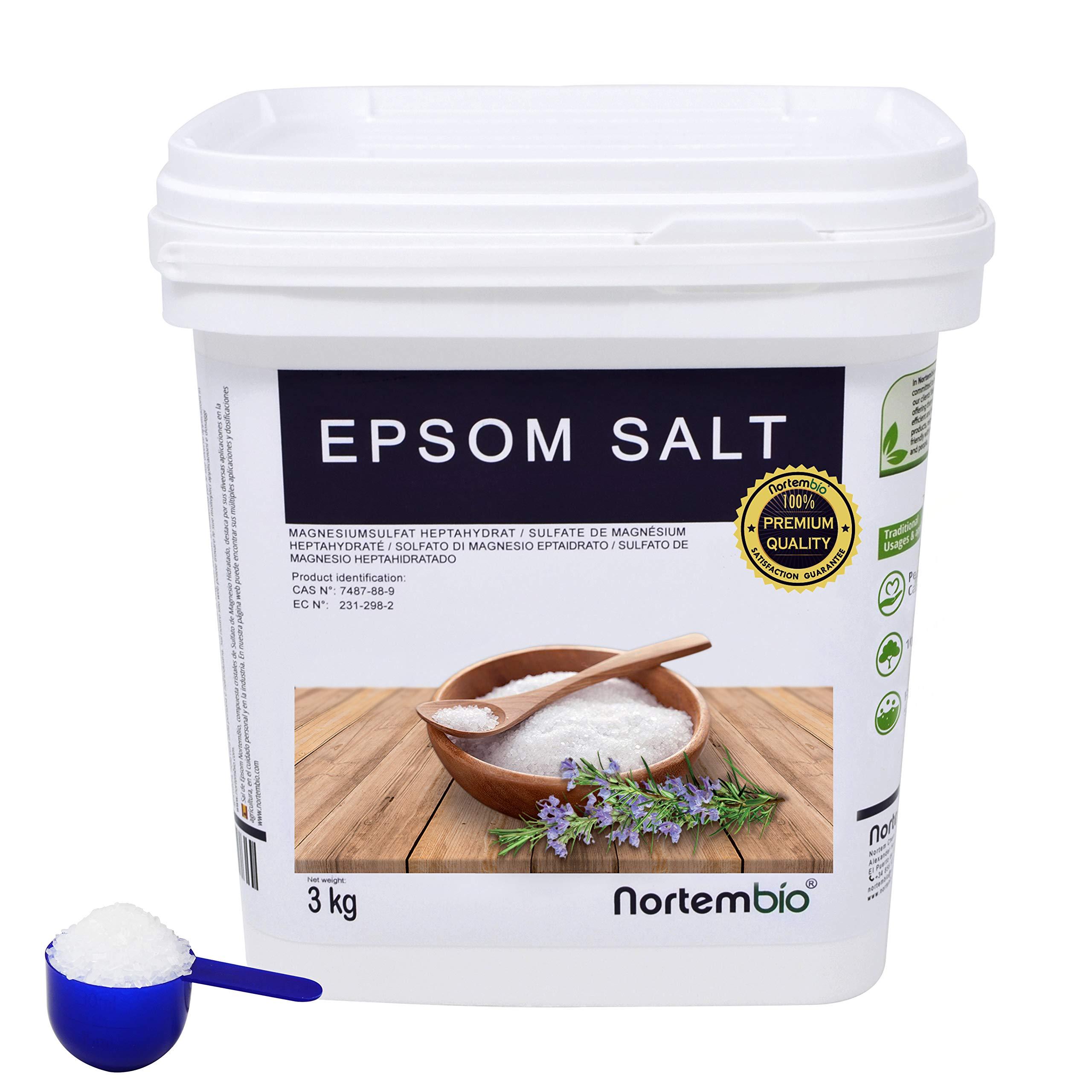 NortemBio Sal de Epsom 3 Kg, Fuente concentrada de Magnesio, Sales 100% Naturales