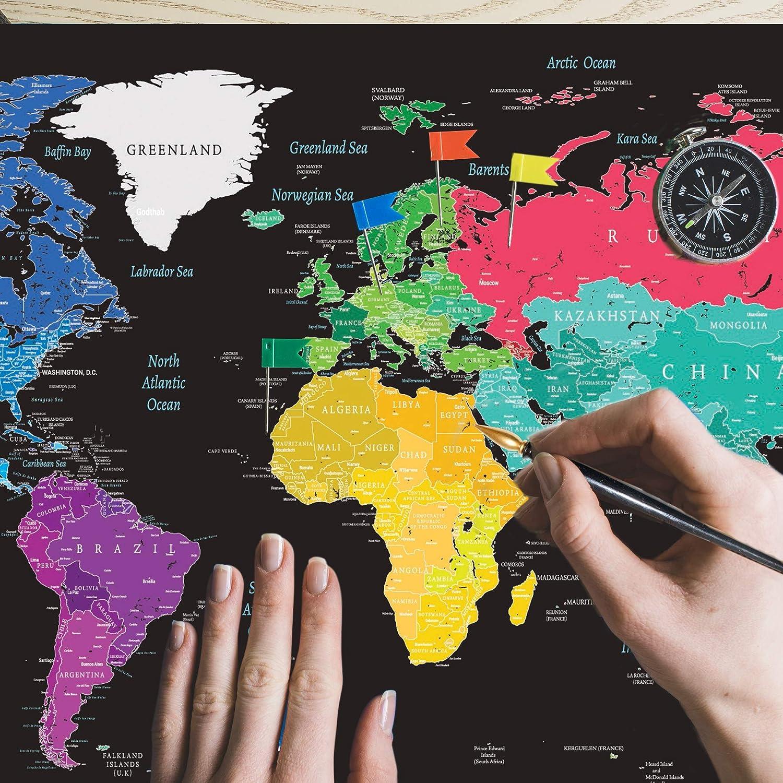 Cartina Mondo Gratta.Poster Da Grattare Design Unico E Cartina Geografica Dettagliata 900 X 550 Mappa Del Mondo Da Grattare Premium Xxl Mm Planisfero Da Grattare Ideale Come Regalo Arte Quickandcleaninc Decorazioni Per Interni