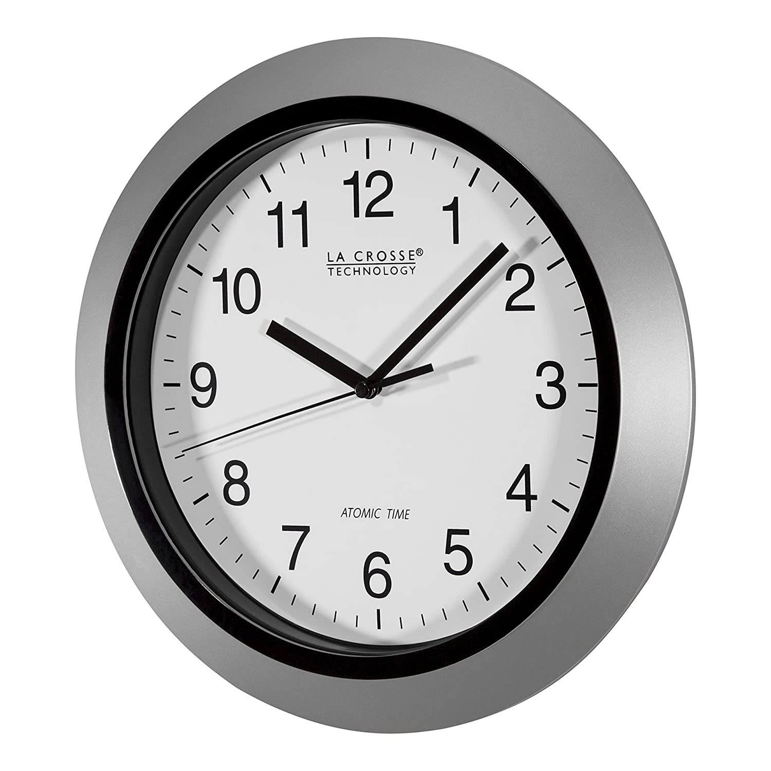 Amazon la crosse technology wt 3102s 10 inch atomic analog amazon la crosse technology wt 3102s 10 inch atomic analog wall clock silver home kitchen amipublicfo Images