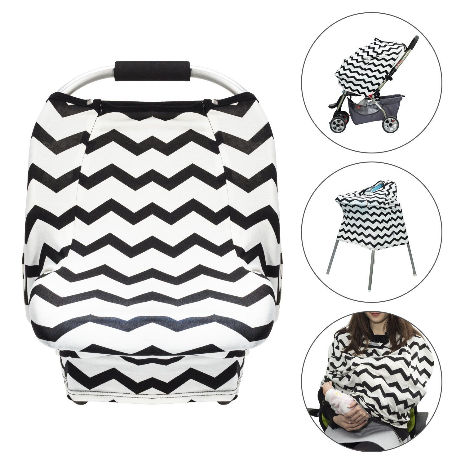 Baby Car Seat Cover - Uiter Infant Car Canopy Nursing Cover for Boys Girls, Snug Warm Breathable Windproof, Adjustable Peep Window, Insect free, Universal Fit (Stripe) Southern Harbour