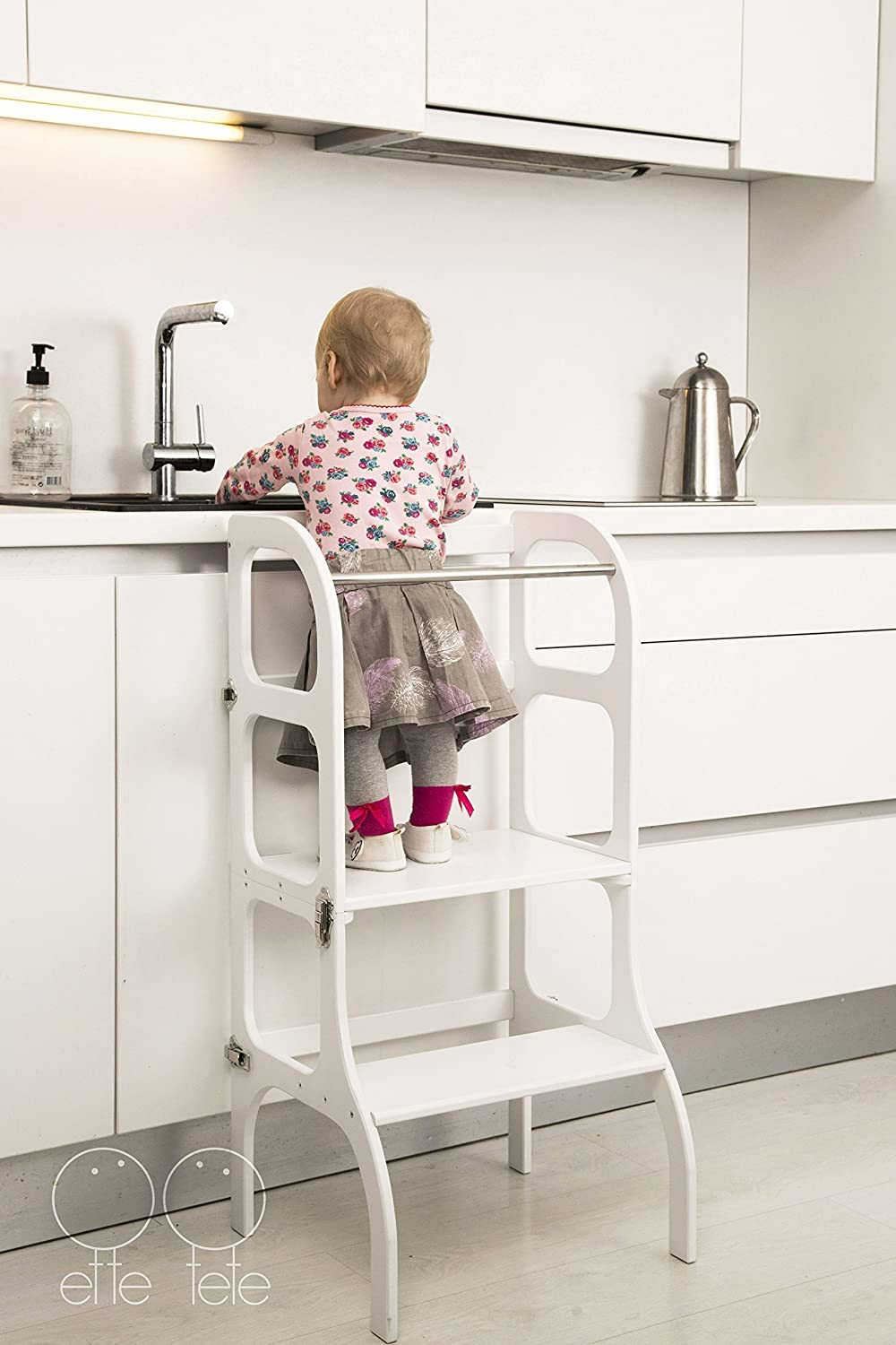 Convertible Helper tower Montessori learning stool kitchen step stool table//chair StepnSit all-in-one WHITE color//antique BRASS clasps