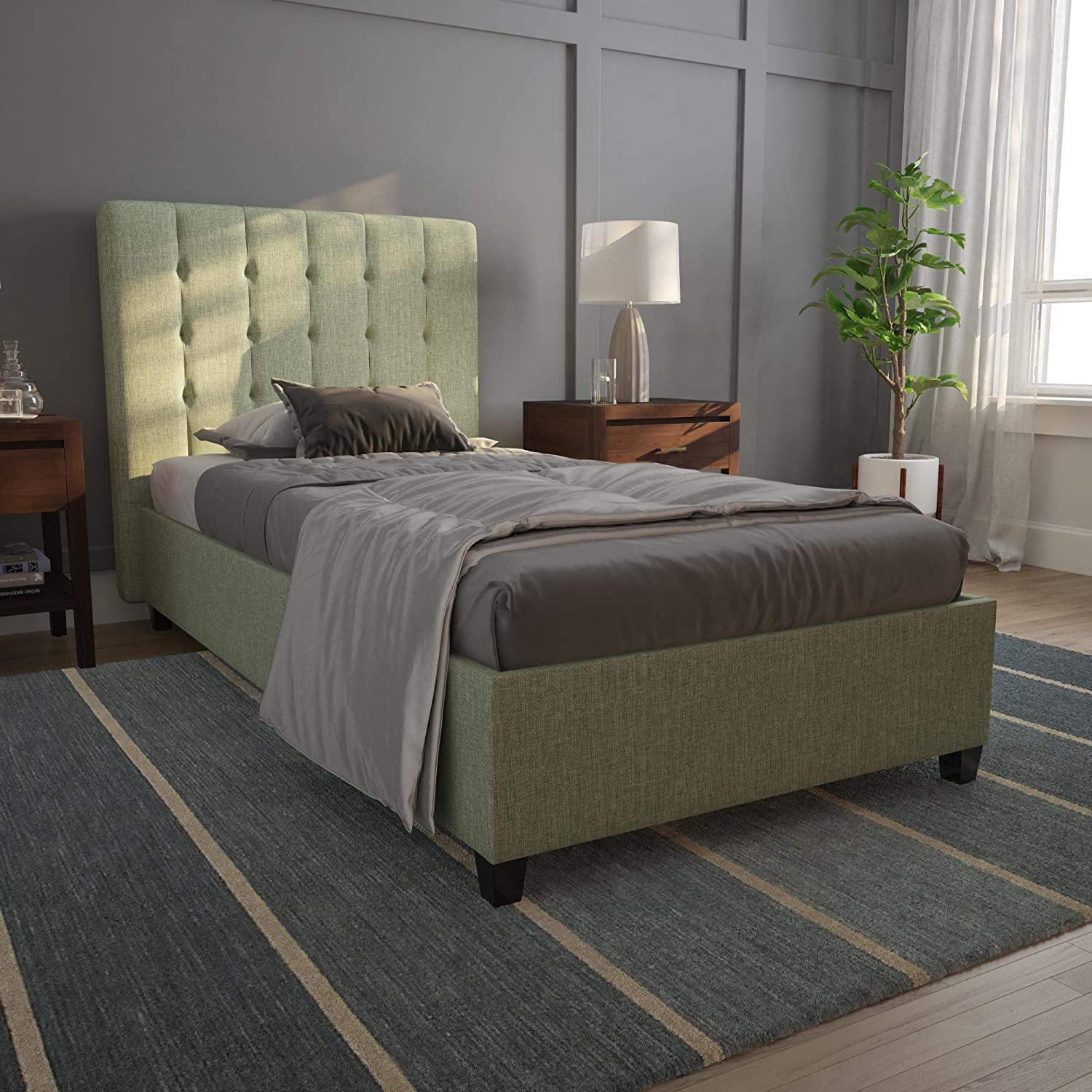 DHP Emily, Light Green Linen, Twin Frame Upholstered Beds,