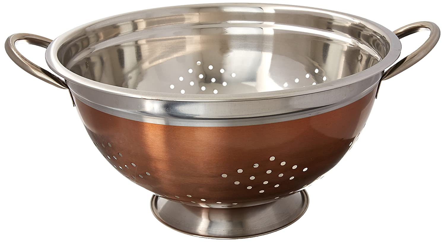 EURO-WARE High Grade Stainless Steel Colander for Pastas or Washing Fruits, Vegetables, Salads and More with Decorative Copper Finish (3 Quart) SS-DK-3503