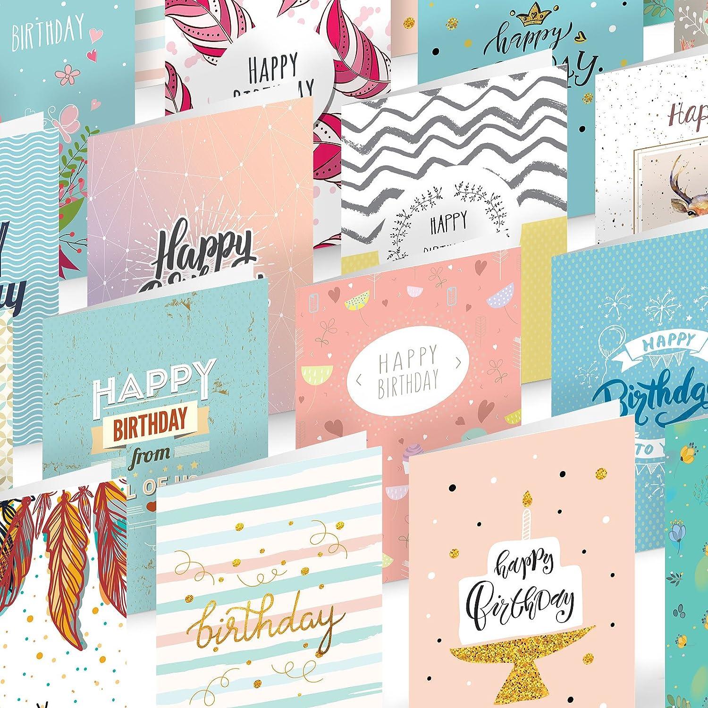 Auflage Wertvolle Packung f/ür M/änner und Frauen Set von 16 Joy Masters/™ Geburtstagskarten 3 Box mit Gl/ückwunschkarten und wei/ßen Umschl/ägen