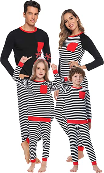 Mom Kids Long Sleeve Striped Pocket Christmas Matching Dress Family Clothes