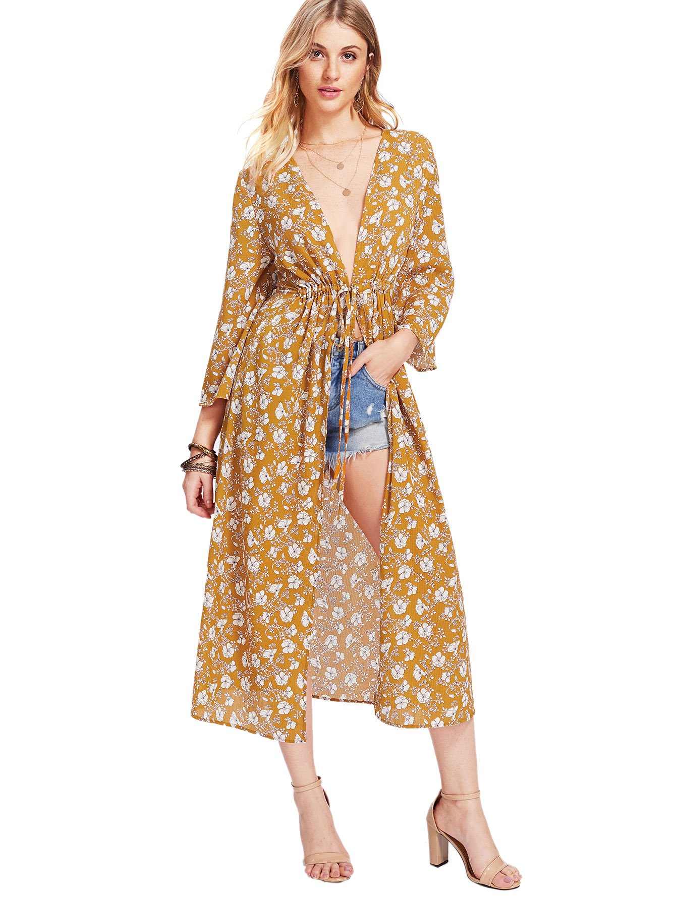 SweatyRocks Women's Beach Cover Up Swimsuit Loose Floral Print Kimono Cardigan Capes Chiffon Chiffon Blouse Multicolor L