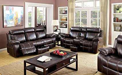 Amazoncom Reclining Sofa W Storage Loveseat Console Cup Holder