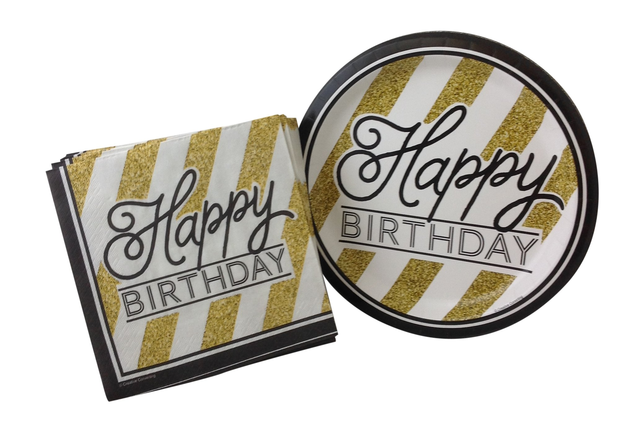 Black and Gold Happy Birthday Party Bundle with Paper Plates and Napkins for 16 Guests