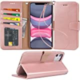 Arae Case for iPhone 11 PU Leather Wallet Case Cover [Stand Feature] with Wrist Strap and [4-Slots] ID&Credit Cards…