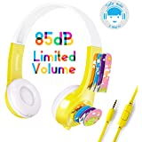 Mimoday Kids Headphones for Kindle Fire Kids Edition Tablet Volume Limiting with Microphone Over Ear Headphones for Boys Girls(Yellow)