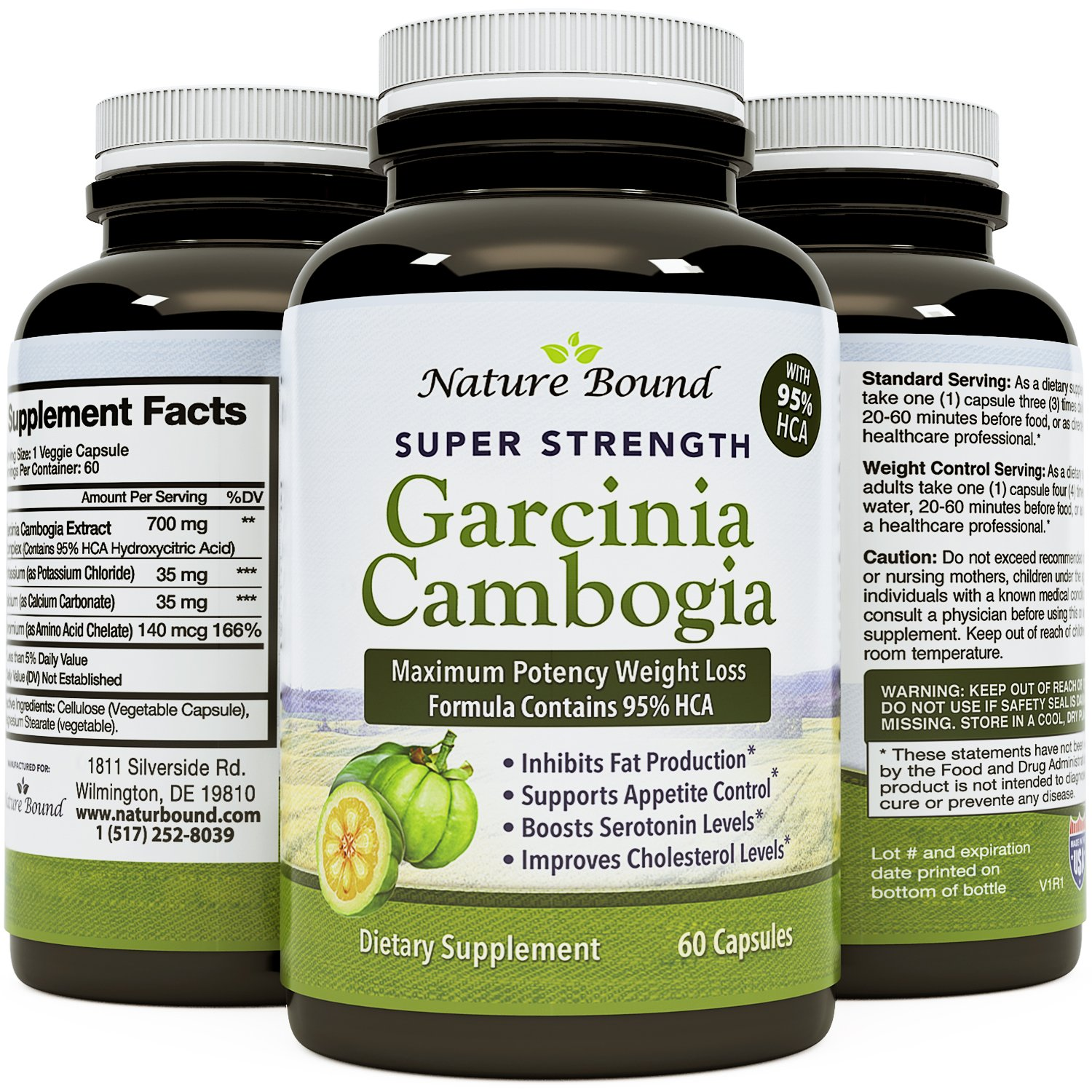 95% HCA Garcinia Cambogia Supplement Natural Weight Loss Pills - Pure Garcinia Extract Fat Burner for Men & Women Block Carbs Suppress Appetite Boost Metabolism and Energy Support - Nature Bound