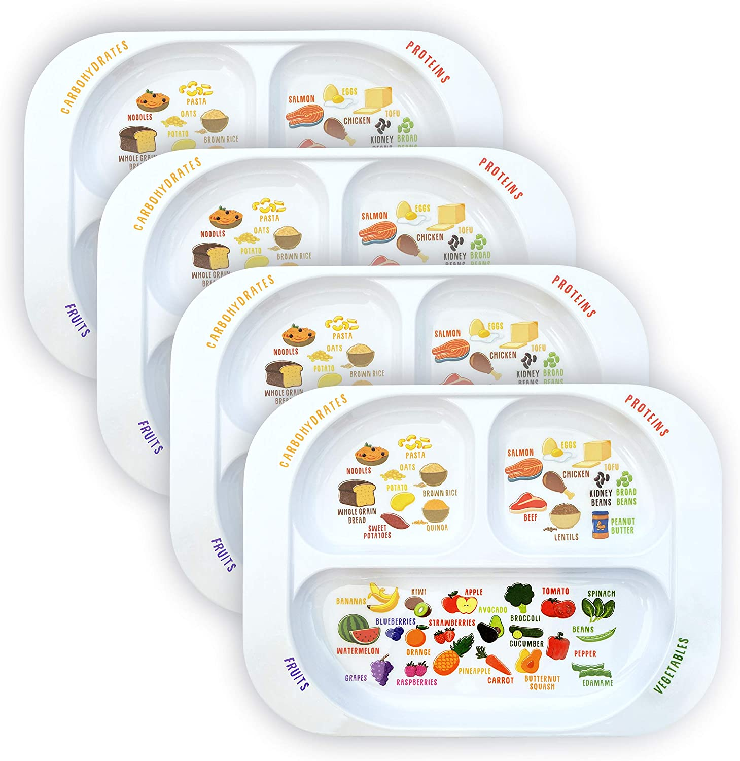 Kid's Healthy Learning Plate | Divided Portion Control for Toddlers & Children | Learn Nutrition & Food Groups | Colorful Sections for Fussy Eaters | Child-Friendly Melamine, Dishwasher-Safe (4 Pack)