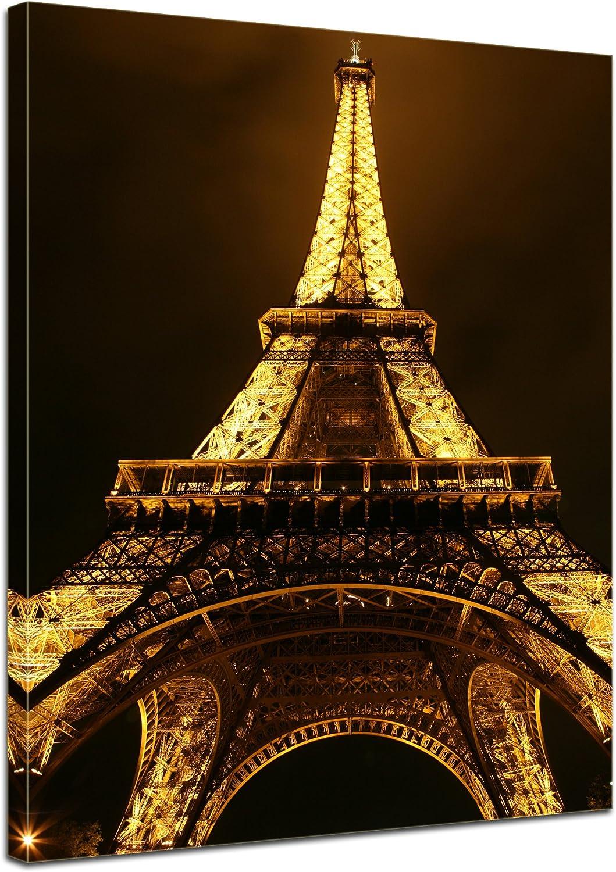 Bilderdepot24 Cuadros en Lienzo Torre Eiffel por la Noche - París Francia 50x60 cm - Enmarcado Listo Bastidor Imagen. Directamente Desde el Fabricante: Amazon.es: Hogar