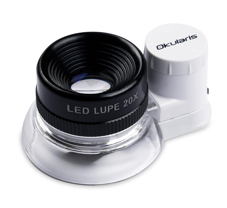 Lente d'ingrandimento Okularis® 20x, alluminio rivestito con illuminazione LED, diametro 15mm 4332484102